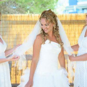 Bride and her Bridesmaids having hair and make up done at villa located in Mandala House near Babyllon Beach in Santa Eulalia, photos by Masha Kart .