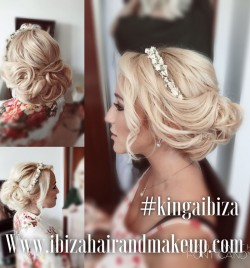 This beautiful hairstyle was created by me Kinga using hair extensions and creative flair , it was full on day with extra staff helping with make up and hair for wedding guest, location near Cala Vadella ,where you have beautiful views of mystic Es Vedra , wedding took place in the famous Elixir Shore .
