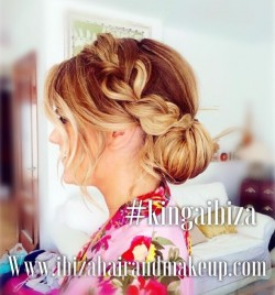 Special technique of braiding was used to create this beautiful thick bird on the side and nicely tucked hair bun at the back , creation by  Kinga ,book yours at  Ibiza Hair and Make up