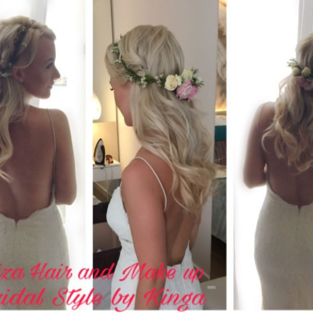 Ibiza Brides getting prepped by Kinga evans and her team , luxury wedding hair and make up services at star location by Kinga Evans