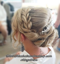 Wedding  hairstyle by Kinga Evans . Extra team of hair and make up artist also attended this wedding booking at  Sensatori Hotel in Cala Tarrida , looking after a weddin group made of the  Bride , Bridesmaids, Mother and extra guests .