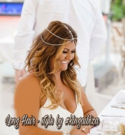 Beautiful Blowdry followed by  loose waves to create that bohemian bridal ibizan hairstyle . Wedding at Pura Vida , Santa Eulalia