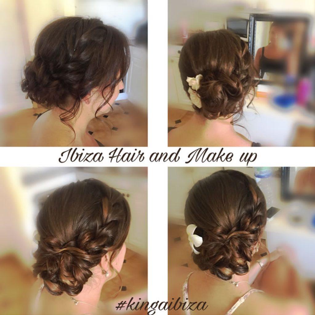 Location in San Antonio , Marina Bay hotel , beautiful Braid and side bun , wedding guest hair and make up by Kinga