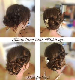 Dry Hair styling for a wedding guest . Beautiful Braid incorporated into a side  bun, using styling technique that allows to create thick braid on fine hair.
