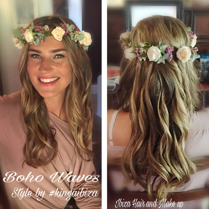 Bohemian Wedding Hairstyle. Example Of Real Waterfall Braid On Very Long  Hair ...