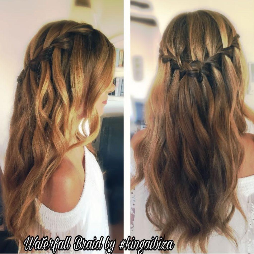 Waterfall Braid , Bohemian style , mobile villa service , servicio a domicilio de peluquería para el día de la boda , Wedding hairstyles