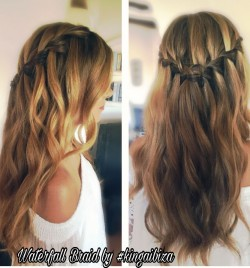 example of real waterfall braid on very long hair prepped with beautiful bohemian waves by Kinga