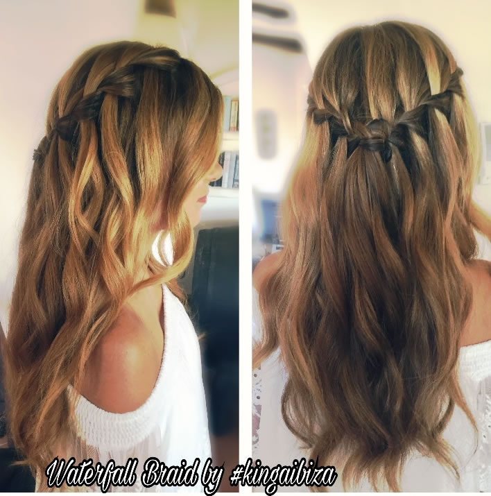 Example Of Real Waterfall Braid On Very Long Hair Prepped With Beautiful  Bohemian Waves By Kinga. Wedding Hairstyles