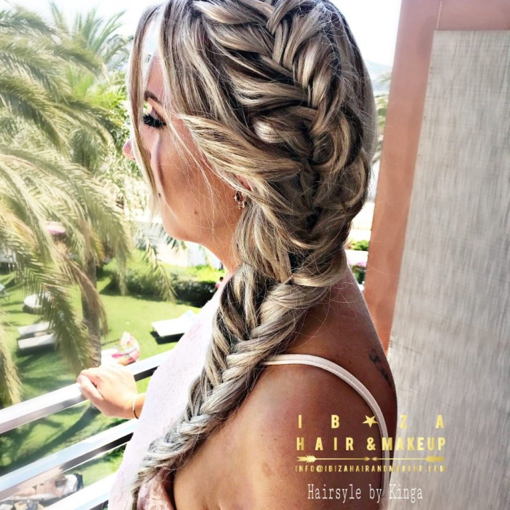 Fish Tail plait with extensions blended in perfectly by Kinga , luxury location at Aquas de Ibiza