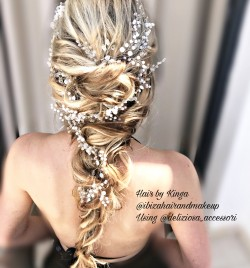 Hard Rock hotel wedding , bridal hairstyle on long hair by Kinga .