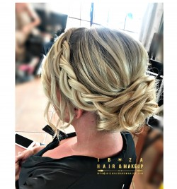 Dutch Bread and low bun bridesmaids hairstyle by Kinga