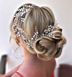 Bridal Hairstyle by Kinga , using hair accessories by  Deliziosa Accessori available to purchase .