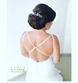 Bridal wedding undo for a client getting married at Cas Mila , Ibiza , by Kinga Evans , director of Ibiza Hair and Make up