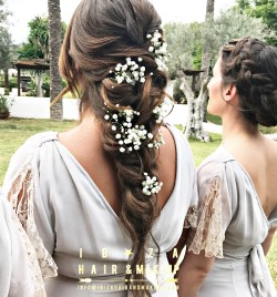 Luxury location Atzaro, wedding hairstyles for Bride and her family by Kinga . hair was enhanced by extensions .